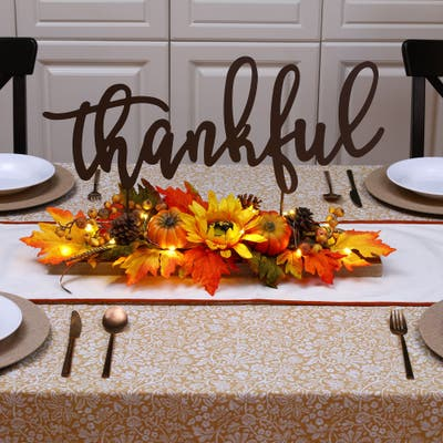 """Glitzhome 24""""L LED Lighted Metal Thankful Floral Table Decor"""