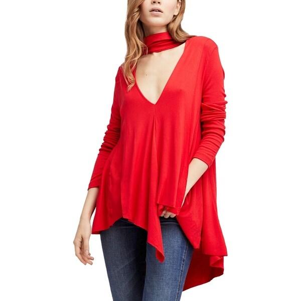 128d1b923e Free People Red Women's Size XS Turtleneck Swing Rib Tunic Top