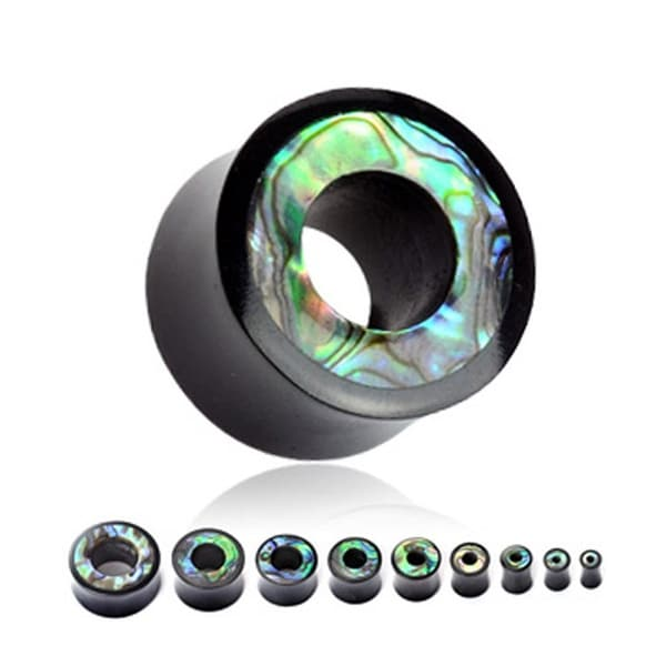 Organic Horn Saddle Tunnel Plug with Abalone Inlayed Rim (Sold Individually)