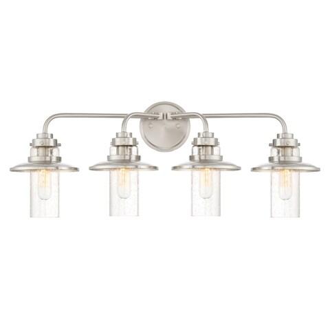 "Designers Fountain 91504 Dover 4 Light 29-3/4"" Wide Bathroom Vanity Light with S - satin platinum"