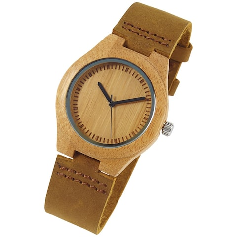 Unisex Adult Bamboo Wrist Watch -Nubuck Band- I Love You More Every Second Engraved - Brown