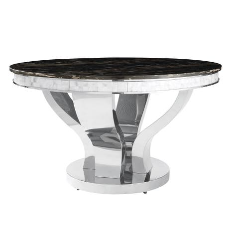 Strick & Bolton Seigel Round Stainless Steel/ Marble Dining Table