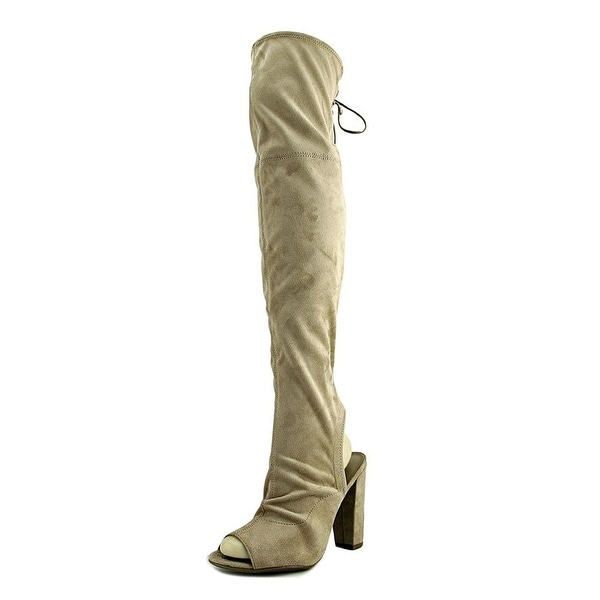 Guess Galle Women Peep-Toe Canvas Nude Over the Knee Boot