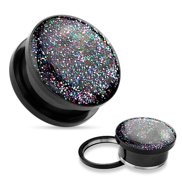 Rainbow Glitter Top Black IP 316L Surgical Steel Screw Fit Tunnel (Sold Individually)