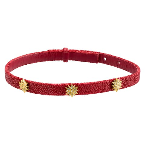 """Cristina Sabatini Radiant Choker, Cubic Zirconia, Genuine Red Python Leather in 18K Gold-Plated Sterling Silver, 15"""""""