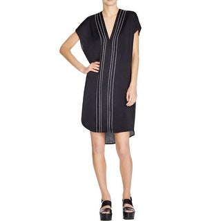 Vince Womens Casual Dress V-Neck Embroidered