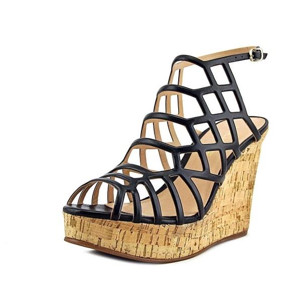 J/Slides Nikki Women Open Toe Leather Black Wedge Sandal