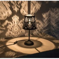 "Kanstar 15"" Hollowed-out Metal Black Ornate Antique Black Table Lamp"