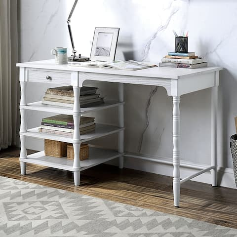 Furniture of America Boyston Transitional White 48-inch 3-shelf Desk