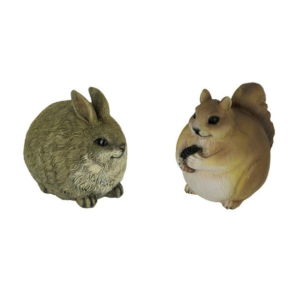 Brown Chubby Bunny and Squirrel Indoor Outdoor Statues Set of 2 Small - 6.5 X 7 X 5.25 inches