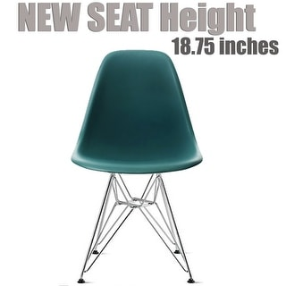 2xhome Teal - Eames Style Molded Bedroom & Dining Room Side Ray Chair with Eiffel Metal Leg Base