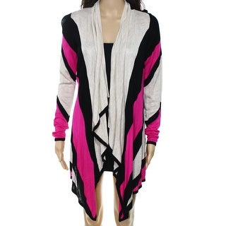 INC NEW Pink Beige Women's Size Small S Stripe Drape Cardigan Sweater
