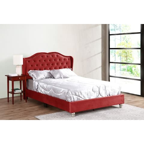 Joy Jewel Tufted Velvet Upholstered Bed