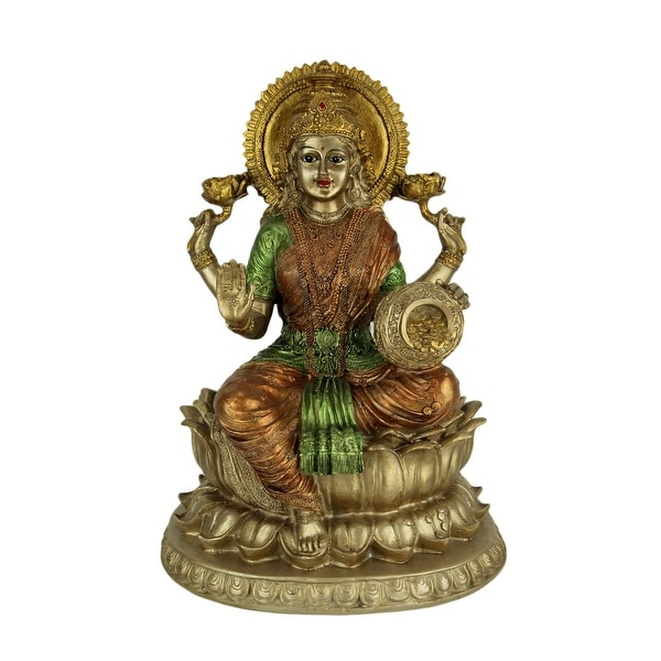 Golden Lakshmi Hindu Goddess On Lotus Flower Statue - 12.5 X 9.25 X 8.75 inches