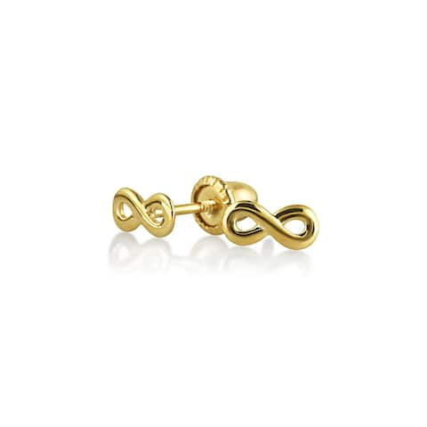 Tiny Minimalist Infinity Symbol Stud Earrings For Women For Teen Girlfriend Real 14K Yellow Gold Screwback