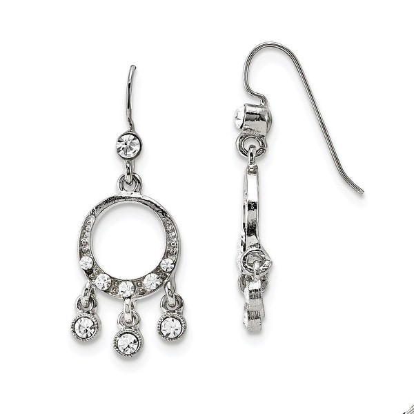 Silvertone Crystal Chandelier Drop Earrings