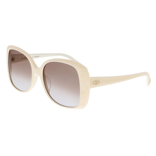 3db935b23b4 Shop Valentino V618S 103 Ivory Square Sunglasses - 56-18-135 - Free ...