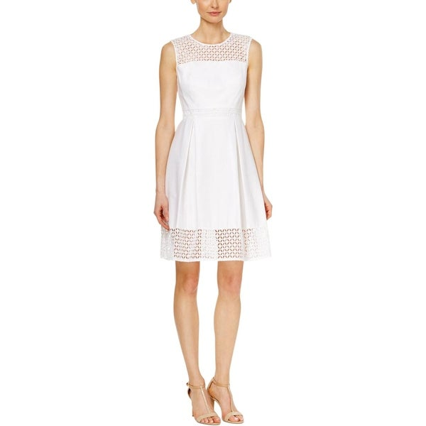 Calvin Klein Womens Petites Casual Dress Crochet Trim Sleeveless