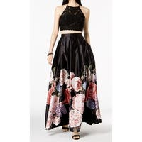 Betsy & Adam Womens Lace Floral Print A-Line Dress