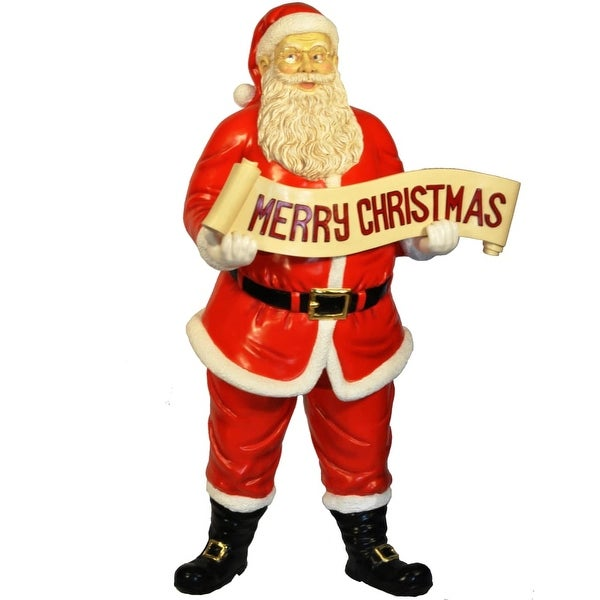 Christmas at Winterland WL-SANTA-58-SIGN 58 Inch Life Size Santa with Merry Christmas Sign - MultiColor - N/A
