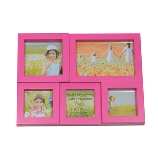 "11.5"" Pink Multi-Sized Puzzled Photo Picture Frame Collage Wall Decoration"
