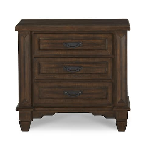 Colston Solid Wood Three-Drawer Nightstand in Burlap