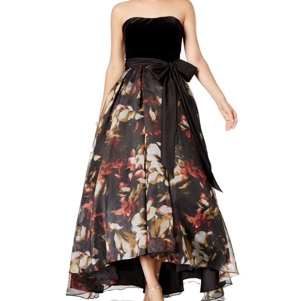 0f3cf360afb Shop Betsy   Adam Black Red Womens Size 8 Velvet Floral High Low ...