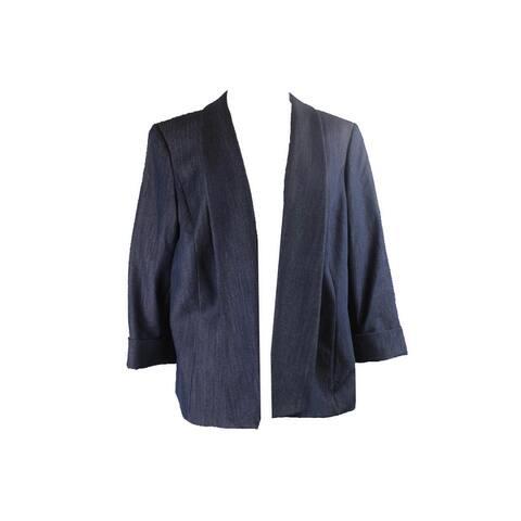 Tahari Asl Plus Size Blue Chambray Blazer 20W