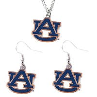 Auburn Tigers Necklace and Dangle Earring Charm Set - NCAA