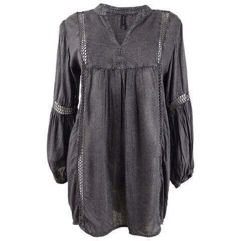 Raviya Women's Plus Size Short Tunic Swim Top Cover-Up - Charcoal