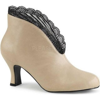 Pleaser Pink Label Women's Jenna-105 Ankle Boot Cream Faux Leather/Black Lace