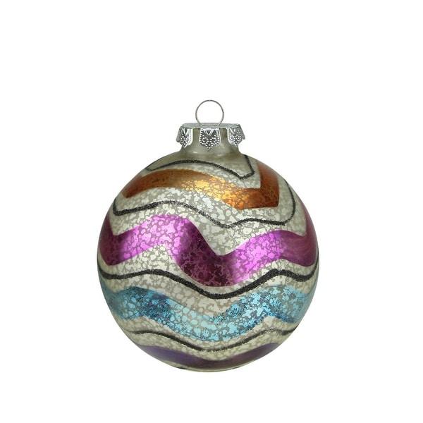 "4.5"" Merry & Bright White Mercury Glass Striped Christmas Ball Ornament"