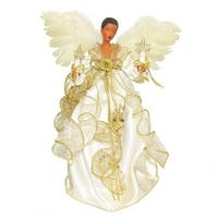 """12"""" Ivory and Gold Colored African American Christmas Indoor Accent Lighted Angel Tree Topper"""