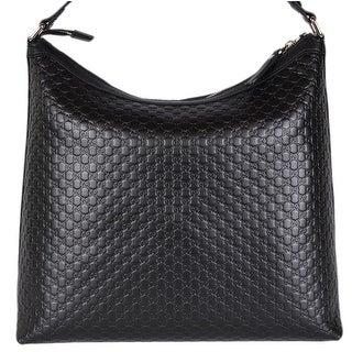 """Gucci 449732 Black Micro GG Guccissima Leather Purse Hobo Handbag - 13.5"""" x 13"""" x 5.5"""""""