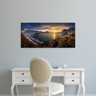 Easy Art Prints Panoramic Images's 'Vikbukta Bay, Vik Beach, Haukland Beach, Vestvagoya, Lofoten, Norway' Canvas Art