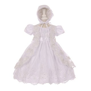 Baby Girls White Sequin Cross Embroidered Christening Hat Dress