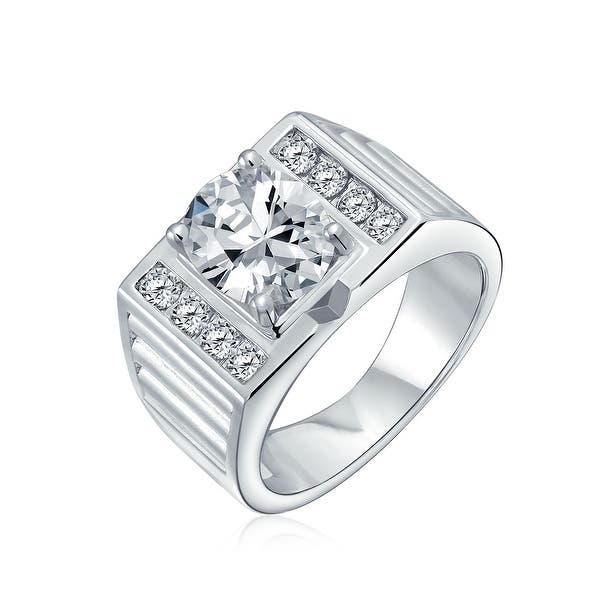 Details about  /White Gold Finish 360 Micropave CZ Square Ring for Men