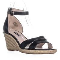 Nine West Jeranna Wedge Heel Espadrilles Sandals, Black Leather - 9.5 us
