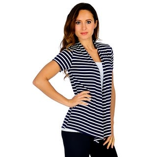 Simply Ravishing Short Sleeve Stripe Open Drape Cardigan (Size: S-3X)