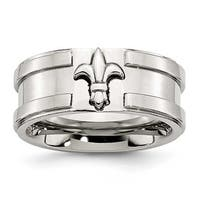 Chisel Stainless Steel Fleur di Lis 10mm Band