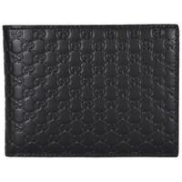 93b04e846bf56c Gucci 217044 Men's Black Leather Micro GG Guccissima Trifold Wallet. Sale