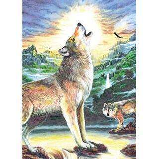 """Mini Color Pencil By Number Kit 5""""X7""""-Wolf At Night"""