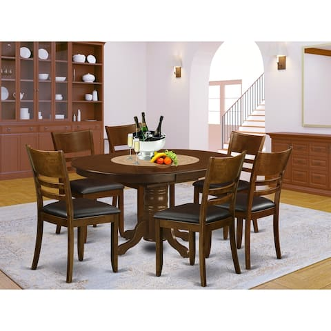 7-Pc set Kenley with a Leaf and 6 Padded Leather Kitchen Chairs in Espresso Finish (Pieces Option)