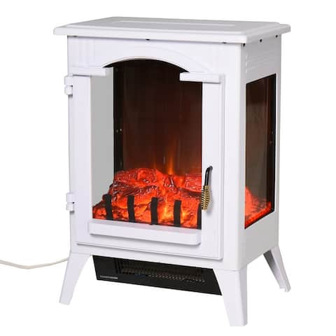 HOMCOM 750W/1500W Modern Electric Fireplace Heater with Realistic LED Faux Flame Effect