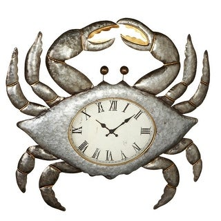 "27"" Metallic Silver Galvanized Crab Shaped Clock with Roman Numerals"