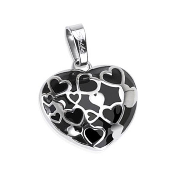 Stainless Steel Black Onyx Multi-Hearts in a Heart Pendant (35 mm Width)