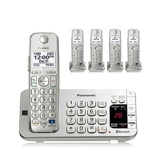 Panasonic KX-TGE275S 5-Cordless Handsets Link2Cell Bluetooth Phone with Answering Machine, Silver