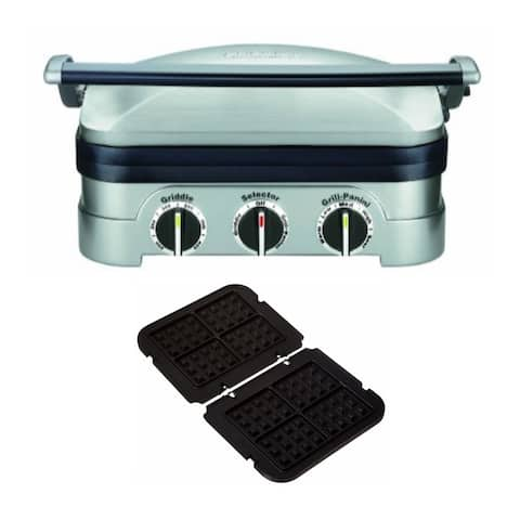 "Cuisinart GR-4N 5-in-1 Stainless Steel Griddler with Waffle Plates - 13.50"" x 11.50"" x 7.12"""