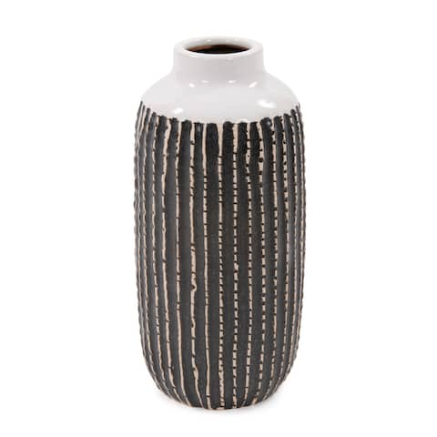 Terra Striped Stoneware Vase, Large - 10H x 5W x 5D