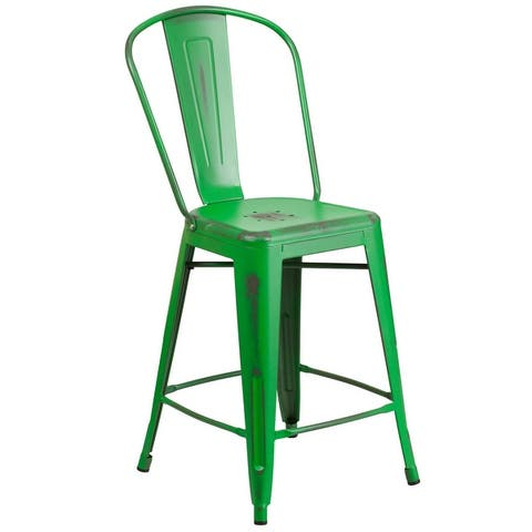 Carbon Loft Ernest Distressed Metal 24-inch Counter Stool